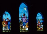 Stained glass windows at Holy Trinity Grosse Ile