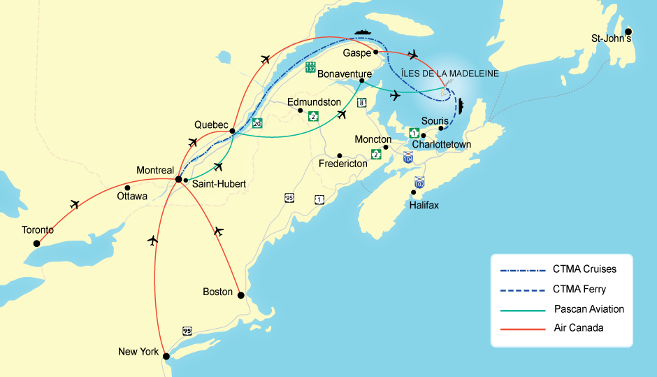 Magdalen Islands Map Getting to the Islands | Tourisme Îles de la Madeleine