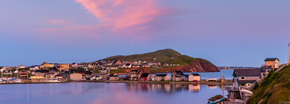 Îles de la Madeleine, La Grave, sunset, lagune, colored houses